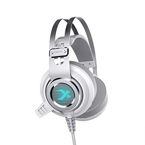 TNXB XHN Casque de jeu stéréo PS4, PC compatible avec micro, suppression du bruit, sans pression auditive et cadre durable, lumière LED et cache-oreilles doux