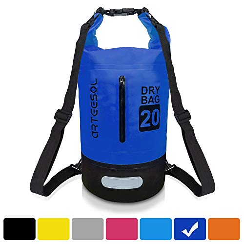 arteesol Waterproof Dry Bag, 5L/10L/20L/30L Backpack Dry Sack with Waist Strap for Beach Swim Kayaking Hiking - Protect Camera Cash Document from Water and Dirt (-30L, Dark Blue)