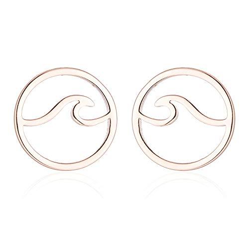 Simple Stainless Steel Round Ocean Wave Stud Earrings for Women Sea Beach Earring Jewelry (Rose gold)