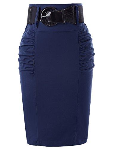 Women's Elastic Waist Stretch Bodycon Midi Pencil Skirt Navy Blue Size M KK271-8