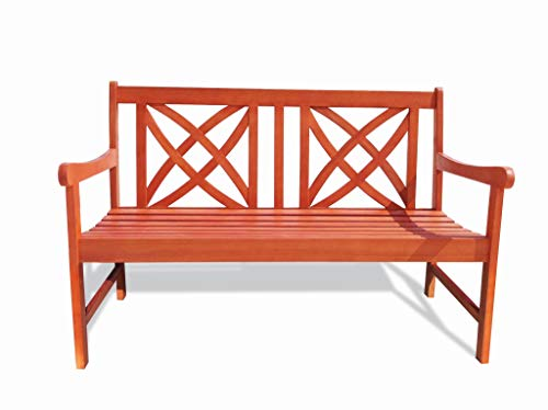 Siesta Red Brown 4Ft Magnolia Eucalyptus Wooden Garden Bench for 2 Seater in Entry Way, Porch, Balcony, Deck, Garden, Patio, Backyard, Outdoor Seating, 400 lbs Capacity, 48 Inches