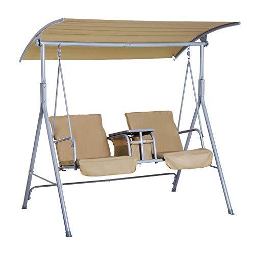 Outsunny Hollywoodschaukel Gartenschaukel Schaukel 2-Sitzer mit Sonnendach Beige 175 x 112 x 165 cm