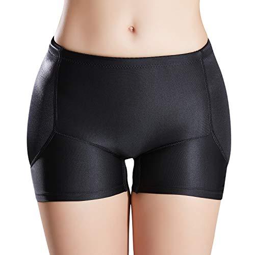 Defitshape Women's Padded Seamless Shapewear Panties Hip Enhancer Underwear Shaper Shorts Black Small