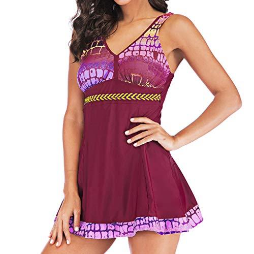 PinkLu bademode Damen große größen Badeanzug mit Push up Bikini für mollige Girls Stitching Oberteil + einfarbig Bikinihose Geometry Print SchwimmanzugExklusive Strandkleider Frauen badesachen