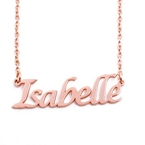 Kigu Isabelle Name Necklace Personalised 18ct Rose Gold Plated, Custom Dainty Name Pendants, Jewellery for Ladies, Girlfriend, Mother, Sister, Friends Inc Bag & Box