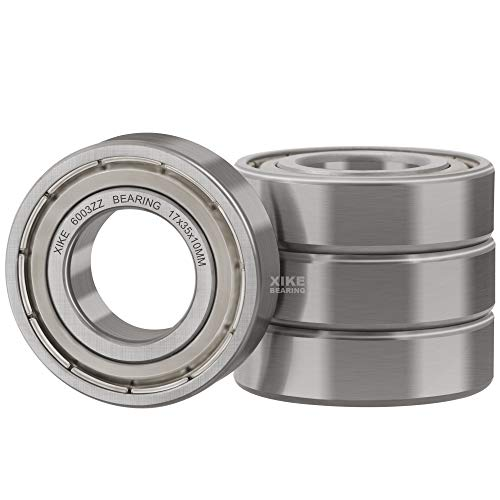XiKe 4 Pcs 6003ZZ Double Metal Seal Bearings 17x35x10mm, Pre-Lubricated and Stable Performance and Cost Effective, Deep Groove Ball Bearings.