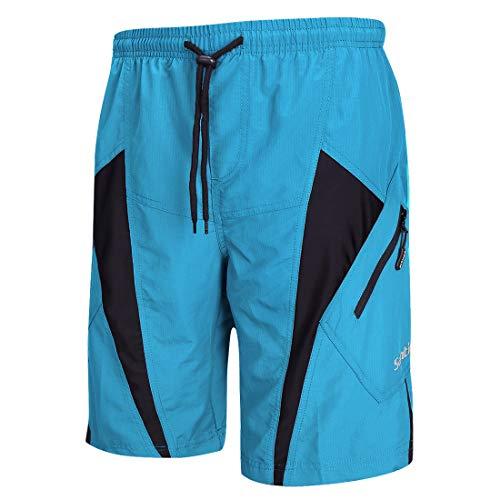 Santic Shorts de vélo pour Hommes,Séchage Rapide Cuissard pour Cycliste avec 4D Rembourrage Pantalons Court de Vélo pour Jogging VTT Randonnée Montagne ou Route Sports Respirants,Bleu XXL
