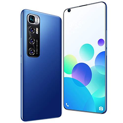 FJYDM Teléfonos Celulares Desbloqueados Pantalla Completa De 7.2 Pulgadas, Teléfono Inteligente con Batería De 5600Mah con Cámara De 21MP + 42MP, Teléfonos Dual SIM 5G,Azul