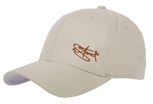 2Stoned Flexfit Cap Wooly Combed Beige mit Stick, Größe L/XL (58 cm - 60 cm), Basecap für Damen und Herren