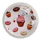Perillas de armario de cocina, perillas decorativas redondas, armario, cajones, tocador, tirador, 4 Uds., Deliciosos postres, rosquillas, pastel