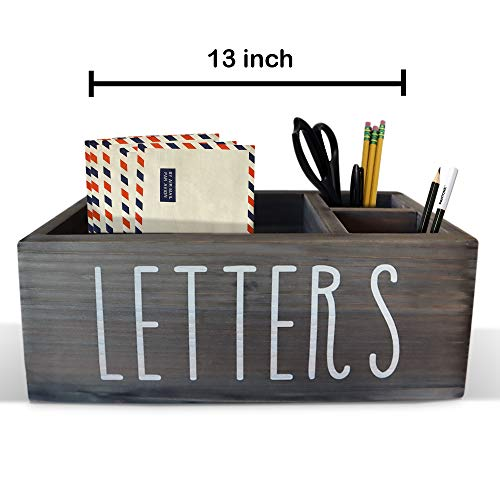 Rustic Mail Organizer with Pen Holder - Bill & Coupon Organizer with Marker Or Pencil Holder Caddy, 3 Compartment Desktop Letter Organizer, Rustic Home Office Decor - 13 inch