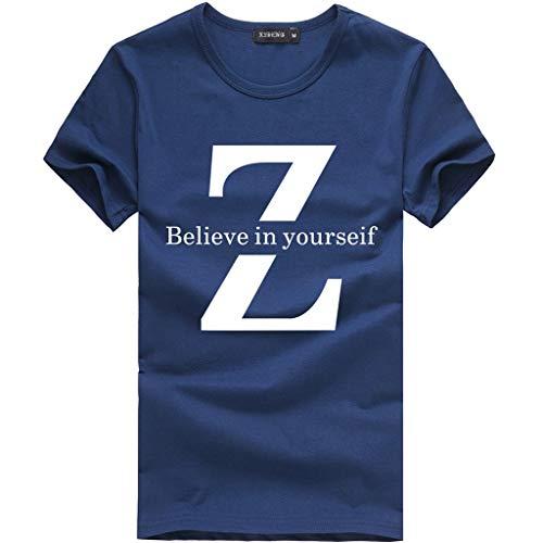 Yowablo T-Shirt Homme Unisexe Nouveau Design Impression 3D col Rond Manches Courtes Chemise Haut Chemisier (XXL,2 Marine)