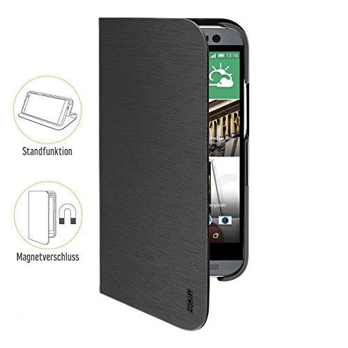Artwizz FolioJacket Handyhülle designed für [HTC One (M8)] - Schutzhülle im modernen Design mit Standfunktion, Magnetverschluss - Schwarz