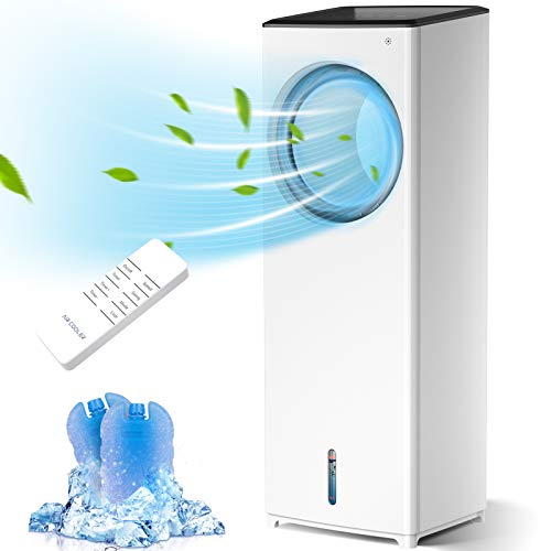 Evaporative Air Cooler, 3-IN-1 Portable Air Conditioner Personal Bladeless Tower Fan/AC Cooling & Humidification, 3 Wind Speeds, 3 Modes, 40° Oscillation, 4-8H Timer Air Cooler For Home Office (White)