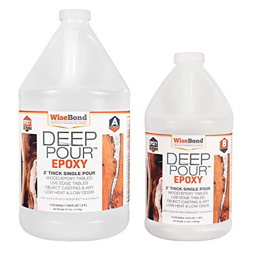 """WiseBond DEEP Pour Epoxy for 2"""" Thick Single Pours to Make Epoxy River Tables, Live Edge Slabs, Lathe Turning, Object Casting, 2 Part 1-1/2 Gallon 2:1 Ratio Kit, Pour Crystal Clear or Easily Tint"""