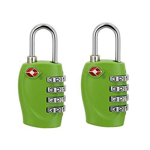 HSDCK Paquete de 2 cerraduras de Equipaje Cerradura de combinación, de 4 dígitos candados de Viaje para el Gimnasio de la Escuela Locker Maleta del Equipaje Mochila para Locker,Verde