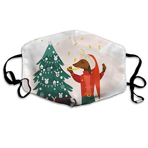 Winddicht masker, kerstmotief, cartoon-stijl, geventileerde hond in kleding en kerstboom met cadeaus