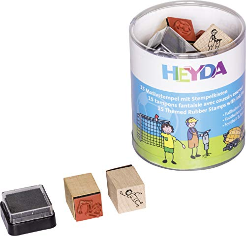 Heyda 204888489 Heyda 204888489 Stempel-Dose (Fußballer & Baustelle) Motivgröße: ca. 1,5 x 1,5 cm