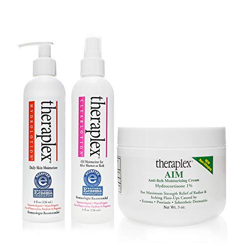 Theraplex Maintain, Protect and Relieve Your Skin Set - AIM - Anti-Itch Moisturizing Cream 3 oz, Clear Lotion Spray 8 oz, and Hydro Lotion 8 oz - (Pack of 3) 1 ea