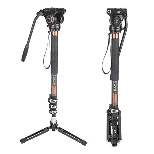 Cayer CF34 Carbon Fiber Camer Monopod Kit, 71 inch Professional Telescopic Video Monopods with Video Fluid Head and Folding Support Base for DSLR Video Cameras Camcorders, Plus 1 Extra Sliding Plate