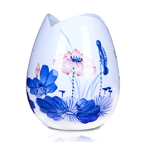 rzoizwko retrò casa Classico Vaso in Porcellana Blu e Bianca, Vaso Decorativo da Tavolo in Ceramica Artigianale, H 7,08 Pollici