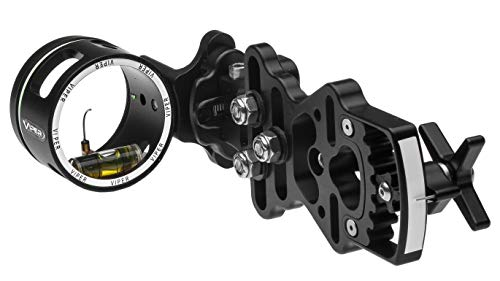 VIPER Archery Sidewinder Compound Bow Sight -- Made in USA -- Machined Aluminum, Bright Fiber-Optic Single Pin, Toolless Quickset Gear-Drive Elevation Adjustment, 0.019 pin