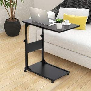 Greensen C Side End Table Height-Adjustable Sofa Table Coffee Table, Bed Sofa Side Table with Wheel, Slides Up to Sofa Chair Recliner Multifunctional Care Table with Floor Plate, Black