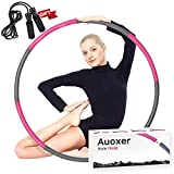 Auoxer Fitness Exercise Weighted Hoola Hoop, Lose Weight Fast by Fun Way to Workout, Fat Burning Healthy Model Sports Life, Detachable and Size Adjustable Design (Fuchsia)