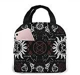 Bolsa de almuerzo con símbolos sobrenaturales para mujeres,niñas,niños,bolsa de picnic aislada,bolsa gourmet,bolsa cálida para el trabajo escolar,oficina,camping,viajes,pesca