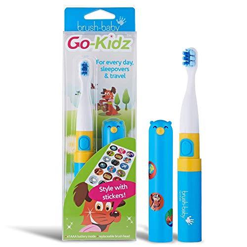 Brush-Baby Go-Kidz Elektrische Zahnbürste | Stufe 3-Kinder | 3+ Jahre | Sanfte Vibrationen, 2 min Timer & Cover (Blue)