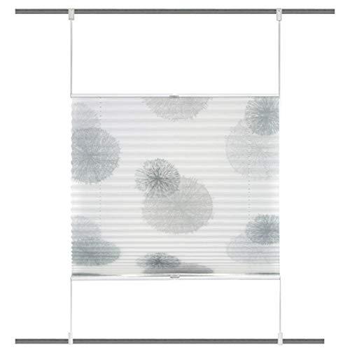 HOME WOHNIDEEN Plisseerollo Rawlins digital Bedruckt mit Up & Down Technik weiß grau 70x130cm