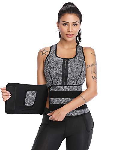 Vaslanda Women Neoprene Waist Trainer Vest Sauna Sweat Weight Loss Workout Slimming Body Shaper Tank Top Grey XL