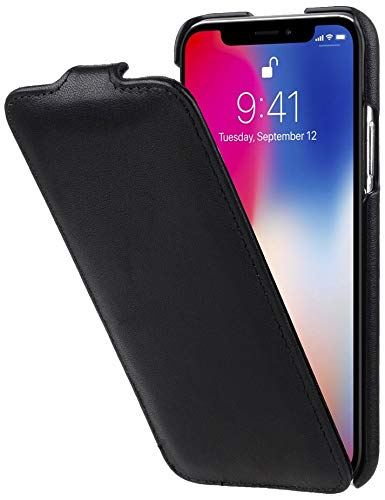 StilGut Leder-Hülle kompatibel mit iPhone XS/iPhone X UltraSlim Flipcase, Schwarz Nappa