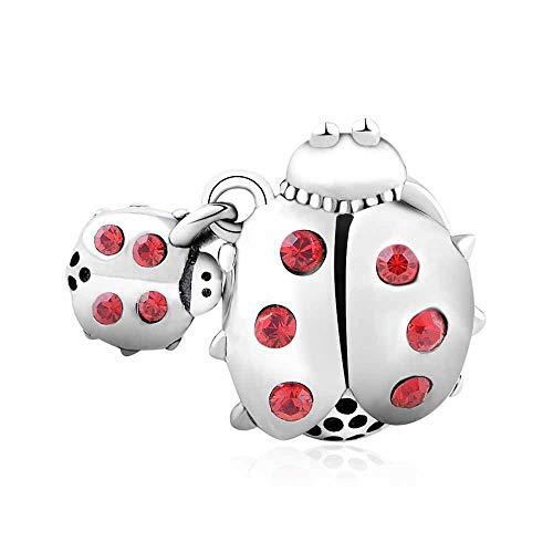 argento 925 cuore charm bead per bracciali Pandora regalo festa della mamma (Ladybug)