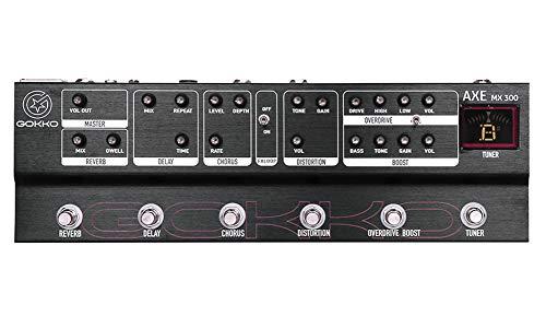GOKKO Audio MX300 - Pedale multieffetto, 6 tipi di effetti: riverbero, ritardo, coro, distorsione, overdrive, boost, w/FX Loop, sintonizzatore integrato...