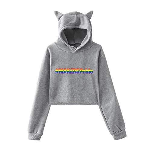 INSTO Lgbt-Pullover Mode Einfach Und Einfach Pullover Damen Und Mädchen Einfach Wild/Grau/S