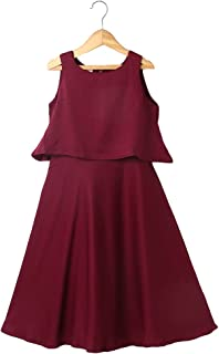Hopscotch Girls Rayon/Viscose Faux Western Style Full Stitched Maxi Gown Dress in Berry Color
