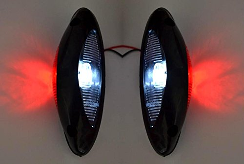 Lot de 2 feux d'encombrement LED 12 à 24 V - Blanc/rouge - Pour châssis de SUV, véhicule tout-terrain, camion, caravane, camping-car
