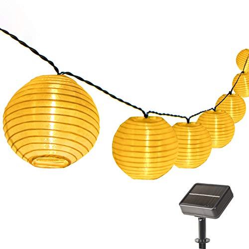 ZHONGXIN Solar Lichterketten Lampions Aussen Balkon, 50 warm weiß LED, 32,6ft /9,9 M, Solar Warmweiß Laterne Beleuchtung, Dekorativ für Außen Garten, Party, Hinterhof, Weihnachten.