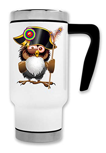 C+P Crazy OWL War Leader Animal Napoleon Bonaparte Helmet Badge Thermische Reise-Kaffee-Tee-Tasse