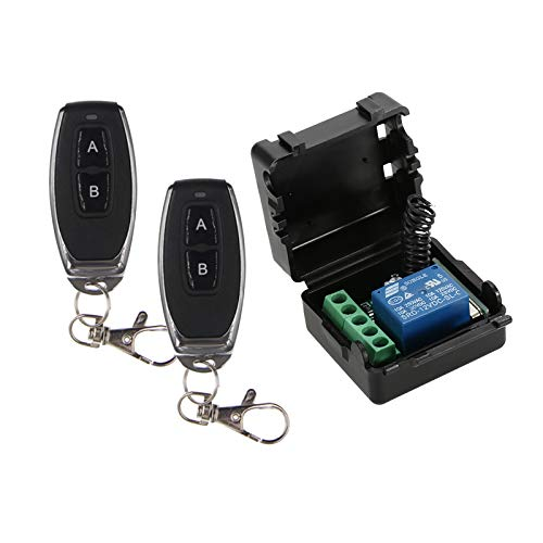 Adaskala Smart Home 433Mhz DC 12V 1CH Receptor del Relevo Remoto Inalámbrico Receptor Transmisor Módulo de Interruptor de Control Remoto Universal y 2 UNIDS Transmisor RF Controles Remotos 1527