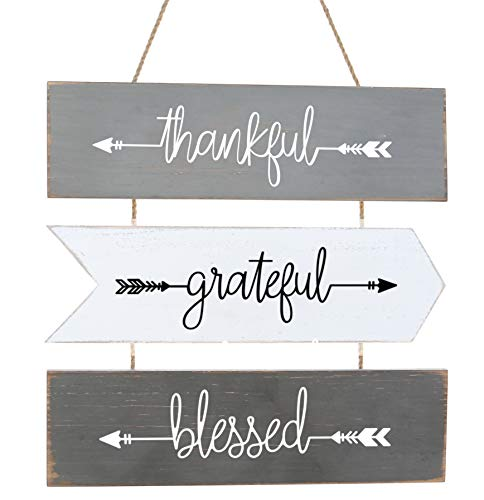 Hanging Wall Sign 3-Set | Rustic Wall Decor, Welcome Sign Wall Art | Farmhouse Home Living Room Kitchen Decorations | House Warming Presents for Couple 18' X 15' (Gray)
