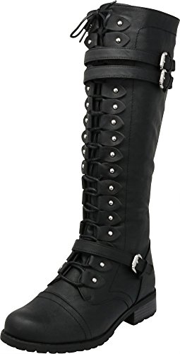 Cambridge Select Women's Lace-Up Strappy Knee High Combat Stacked Heel Boot,7.5 M US,Black Pu