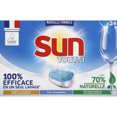SUN TOT-EN-1 Pastillas Lavavajillas Eficaz y Ecológicas, 24 dosis