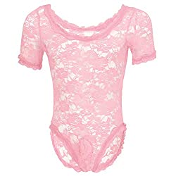One-piece bodysuit in floral lace for guys. Pink color.