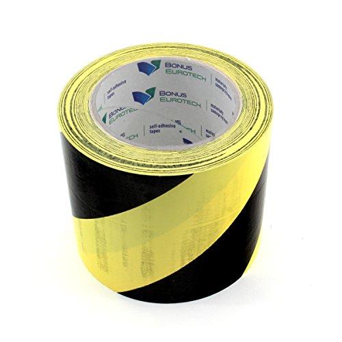 BONUS Eurotech 1BL23.71.0100/033A# PVC Bodenmarkierungsband, Klebstoff auf Kautschuk Basis, weich, Länge 33 m x Breite 100 mm x Dicke 0,17 mm, Gelb/Schwarz