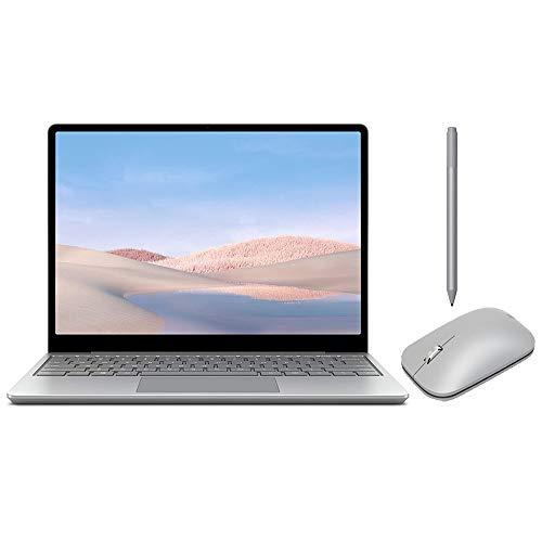 Microsoft Surface Laptop Go 12.4' Touchscreen Laptop PC, Intel Quad-Core i5-1035G1, 4GB RAM, 64GB eMMC, Webcam, Win 10, Bluetooth, Online Class Ready, w/Surface Pen, Mobile Mouse - Platinum