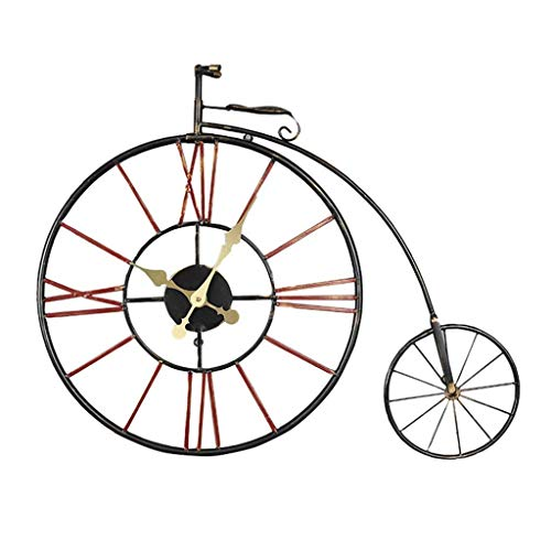 YVX Retro Muffler Wall Clock Nostalgia Bicycle Novelty Digital Hollow Design Bicycle Wall Clock for Cafe Vintage Retro Style Hotel Bar Office Living Room Bedroom Kitchen