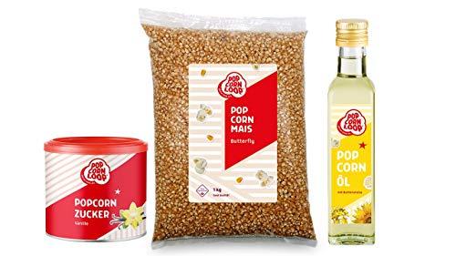 Popcornloop Zutaten Set mit Butterfly Mais 1 Kilo, Popcornzucker Vanille 300g und Popcornöl 250ml für Popcorn Zuhause Popcornmaschine