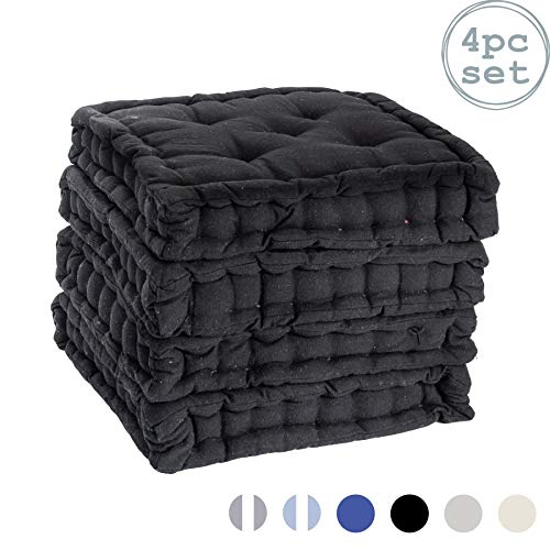 Nicola Spring Dining Chair Cushion Seat Pad Square Padded French Mattress - Black - Pack of 4